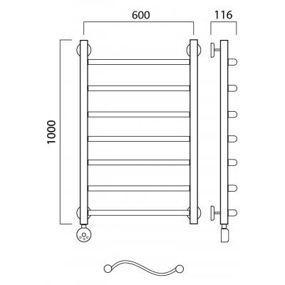 Электрический полотенцесушитель Роснерж Волна L201000 100x60