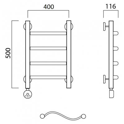 Электрический полотенцесушитель Роснерж Волна L201000 50x40