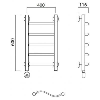 Электрический полотенцесушитель Роснерж Волна L201000 60x40