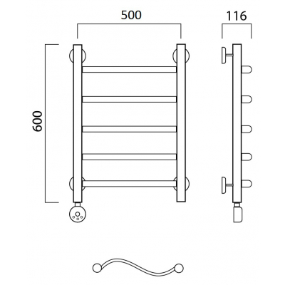 Электрический полотенцесушитель Роснерж Волна L201000 60x50