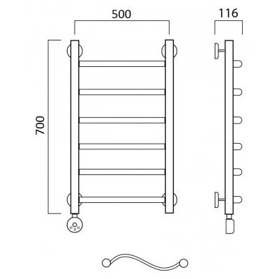 Электрический полотенцесушитель Роснерж Волна L201000 70x50