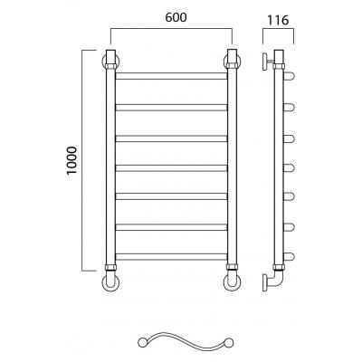 Водяной полотенцесушитель Роснерж Волна L101000 100x60