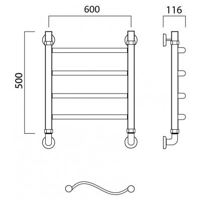 Водяной полотенцесушитель Роснерж Волна L101000 50x60