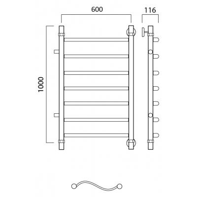Водяной полотенцесушитель Роснерж Волна L101001 100x60 с боковым подключением