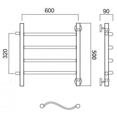 Водяной полотенцесушитель Роснерж Волна L101001 50x60 с боковым подключением