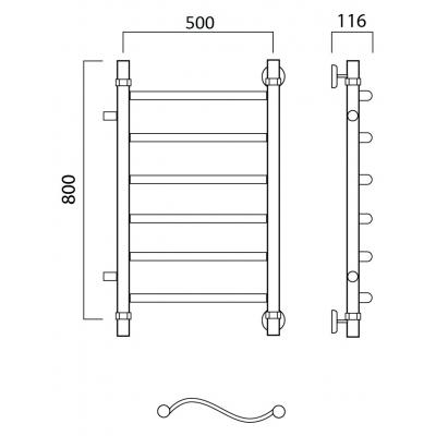 Водяной полотенцесушитель Роснерж Волна L101001 80x50 с боковым подключением