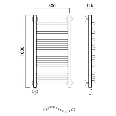 Электрический полотенцесушитель Роснерж Волна L201010 100x50 групповой