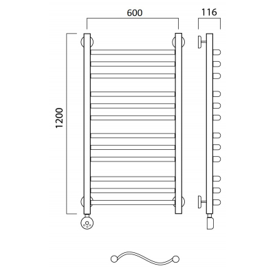 Электрический полотенцесушитель Роснерж Волна L201010 120x60 групповой