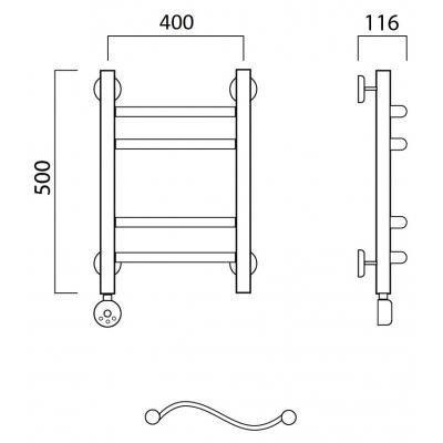 Электрический полотенцесушитель Роснерж Волна L201010 50x40 групповой