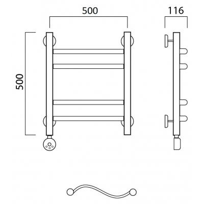 Электрический полотенцесушитель Роснерж Волна L201010 50x50 групповой
