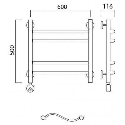 Электрический полотенцесушитель Роснерж Волна L201010 50x60 групповой
