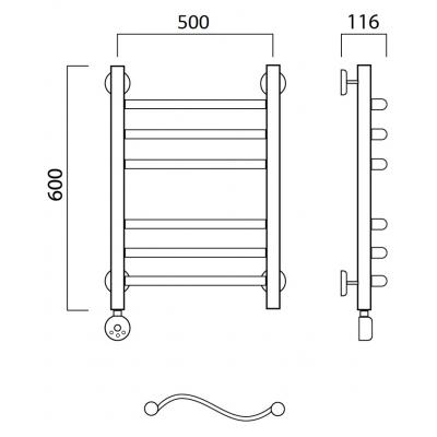Электрический полотенцесушитель Роснерж Волна L201010 60x50 групповой