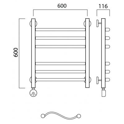 Электрический полотенцесушитель Роснерж Волна L201010 60x60 групповой