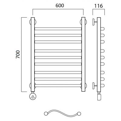 Электрический полотенцесушитель Роснерж Волна L201010 70x60 групповой