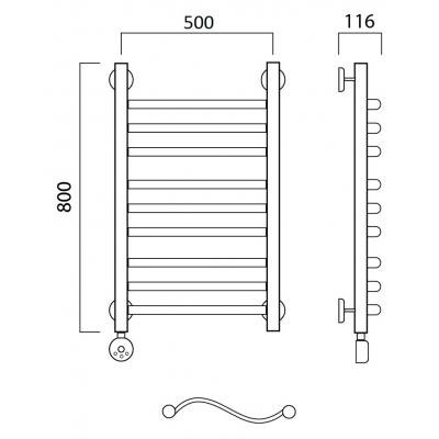 Электрический полотенцесушитель Роснерж Волна L201010 80x50 групповой