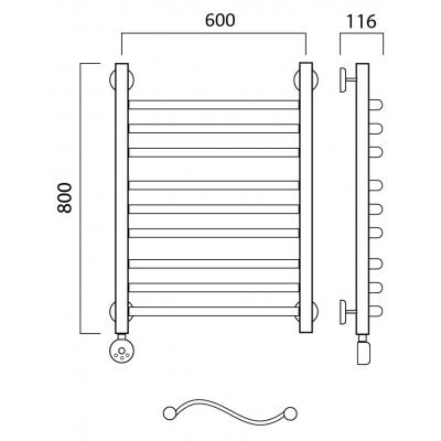 Электрический полотенцесушитель Роснерж Волна L201010 80x60 групповой