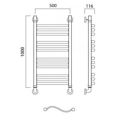 Водяной полотенцесушитель Роснерж Волна L101010 100x50 групповой