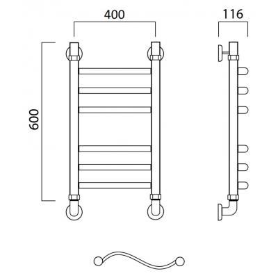 Водяной полотенцесушитель Роснерж Волна L101010 60x40 групповой