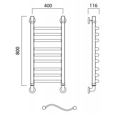 Водяной полотенцесушитель Роснерж Волна L101010 80x40 групповой
