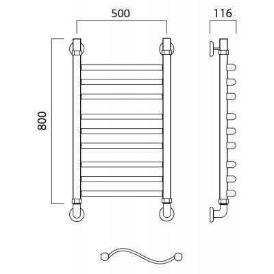 Водяной полотенцесушитель Роснерж Волна L101010 80x50 групповой