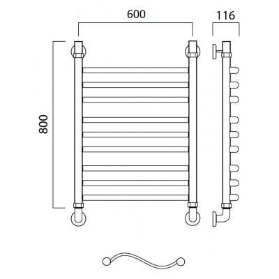 Водяной полотенцесушитель Роснерж Волна L101010 80x60 групповой