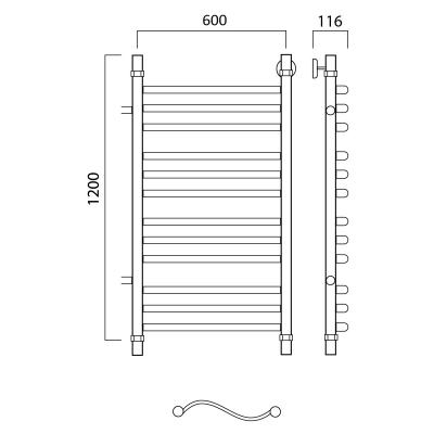 Водяной полотенцесушитель Роснерж Волна L101011 120x60 с боковым подключением групповой