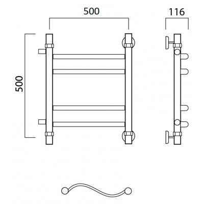 Водяной полотенцесушитель Роснерж Волна L101011 50x50 с боковым подключением групповой
