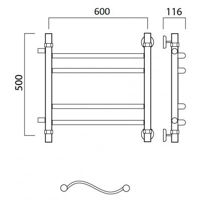 Водяной полотенцесушитель Роснерж Волна L101011 50x60 с боковым подключением групповой