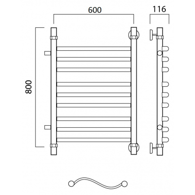 Водяной полотенцесушитель Роснерж Волна L101011 80x60 с боковым подключением групповой