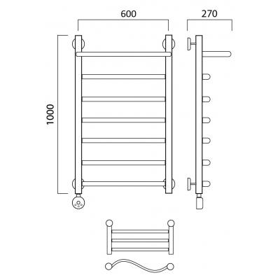 Электрический полотенцесушитель Роснерж Волна L201100 100x60 с полкой