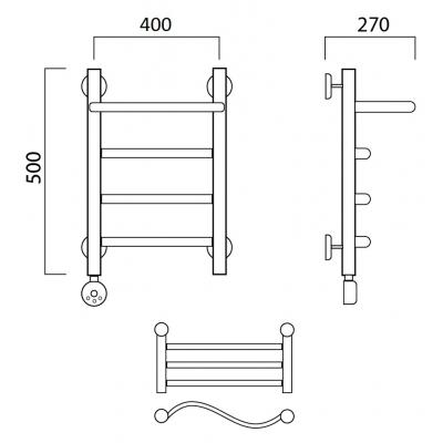 Электрический полотенцесушитель Роснерж Волна L201100 50x40 с полкой