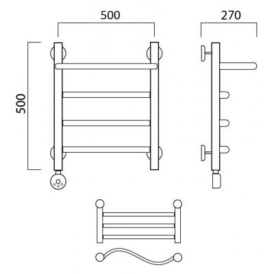 Электрический полотенцесушитель Роснерж Волна L201100 50x50 с полкой