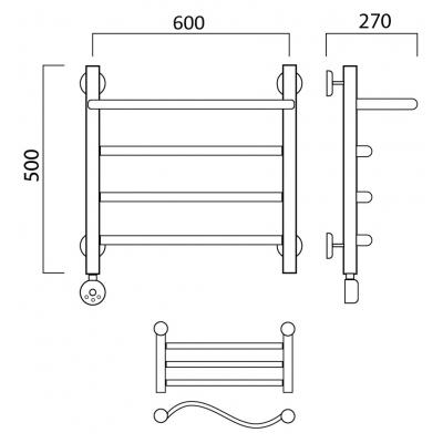 Электрический полотенцесушитель Роснерж Волна L201100 50x60 с полкой