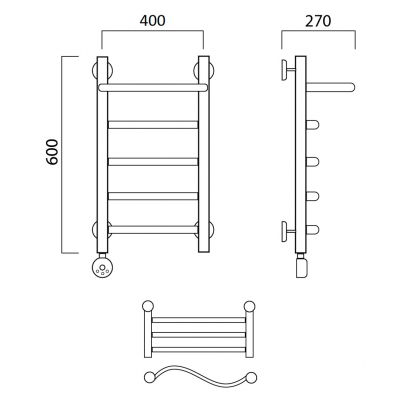 Электрический полотенцесушитель Роснерж Волна L201100 60x40 с полкой