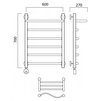 Электрический полотенцесушитель Роснерж Волна L201100 70x60 с полкой