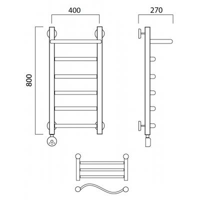 Электрический полотенцесушитель Роснерж Волна L201100 80x40 с полкой