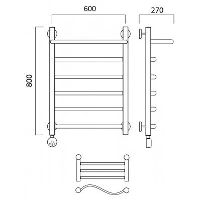 Электрический полотенцесушитель Роснерж Волна L201100 80x60 с полкой