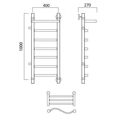 Водяной полотенцесушитель Роснерж Волна L101101 100x40 с полкой и боковым подключением