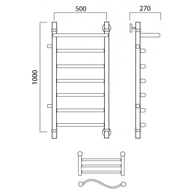 Водяной полотенцесушитель Роснерж Волна L101101 100x50 с полкой и боковым подключением