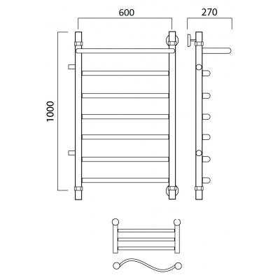 Водяной полотенцесушитель Роснерж Волна L101101 100x60 с полкой и боковым подключением