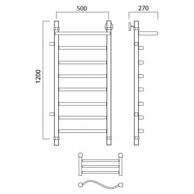 Водяной полотенцесушитель Роснерж Волна L101101 120x50 с полкой и боковым подключением