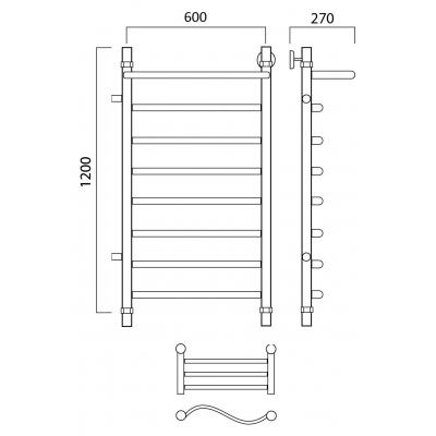 Водяной полотенцесушитель Роснерж Волна L101101 120x60 с полкой и боковым подключением