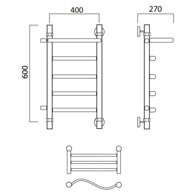 Водяной полотенцесушитель Роснерж Волна L101101 60x40 с полкой и боковым подключением