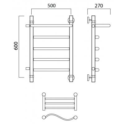 Водяной полотенцесушитель Роснерж Волна L101101 60x50 с полкой и боковым подключением