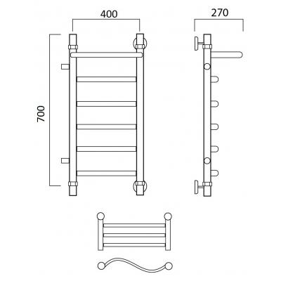 Водяной полотенцесушитель Роснерж Волна L101101 70x40 с полкой и боковым подключением