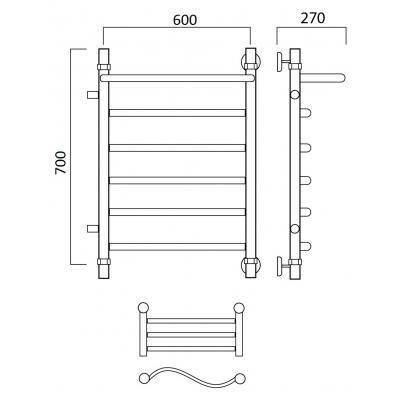 Водяной полотенцесушитель Роснерж Волна L101101 70x60 с полкой и боковым подключением