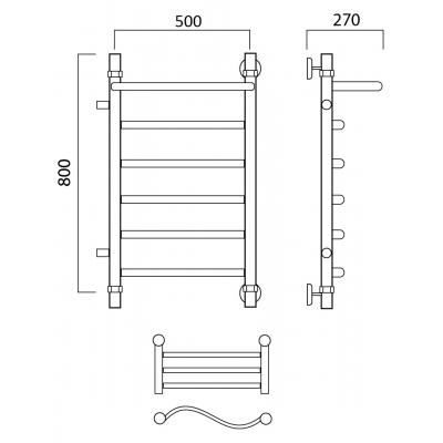Водяной полотенцесушитель Роснерж Волна L101101 80x50 с полкой и боковым подключением