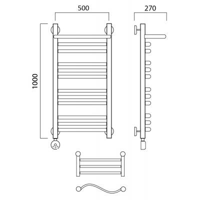 Электрический полотенцесушитель Роснерж Волна L201110 100x50 с полкой групповой