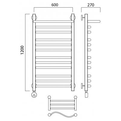 Электрический полотенцесушитель Роснерж Волна L201110 120x60 с полкой групповой