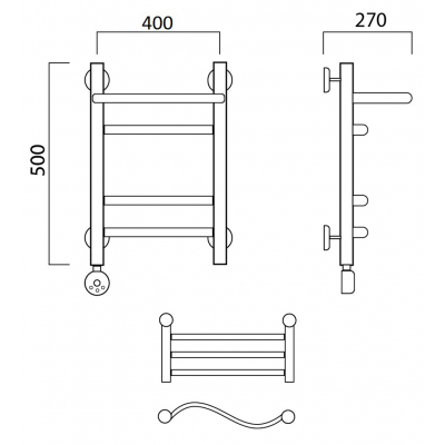 Электрический полотенцесушитель Роснерж Волна L201110 50x40 с полкой групповой